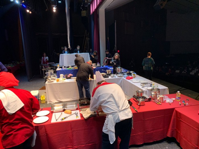 View from the judge's table, overlooking the three chefs during Wilson Iron Chef 2019
