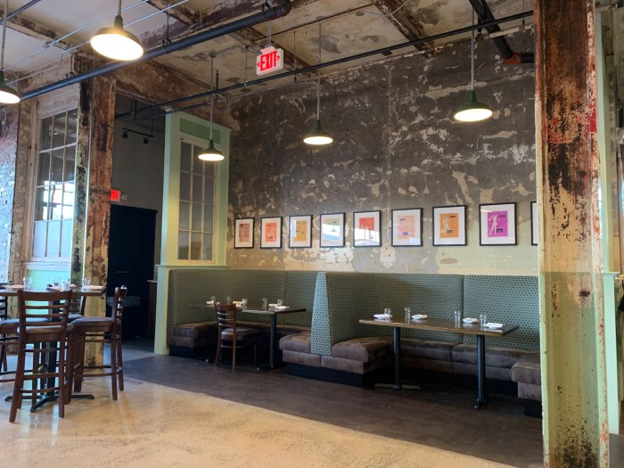 B2 Bistro has an unfinished look, including exposed beams and rough-hewn paint.
