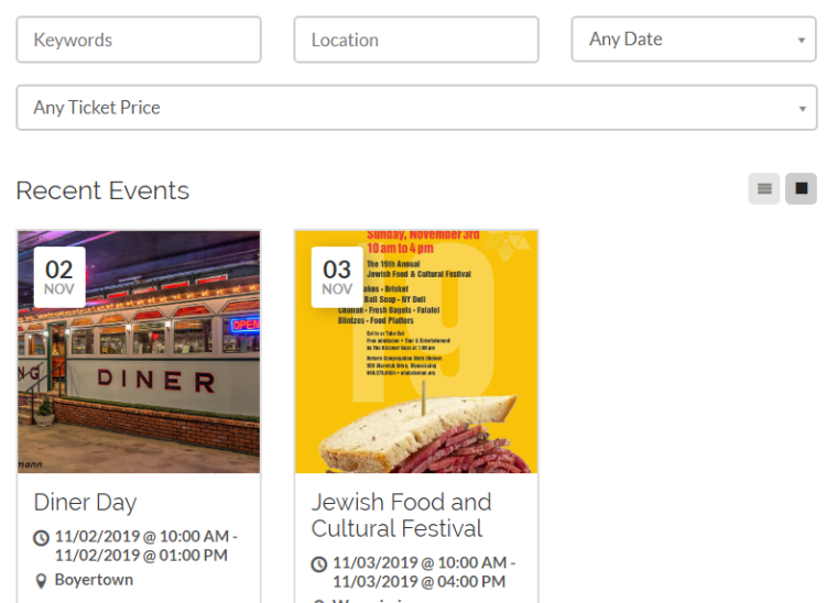 A screenshot of the Events page, including search bar and two event listings