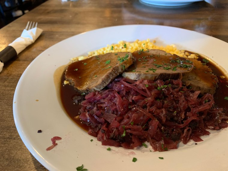 Close-up of red cabbage and sauerbraten from Barrel & Ale