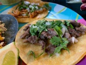 el jefe taco with steak, onion and chorizo from Comalli Taqueria