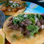 el jefe taco with steak, onion and chorizo from Comalli Taqueria