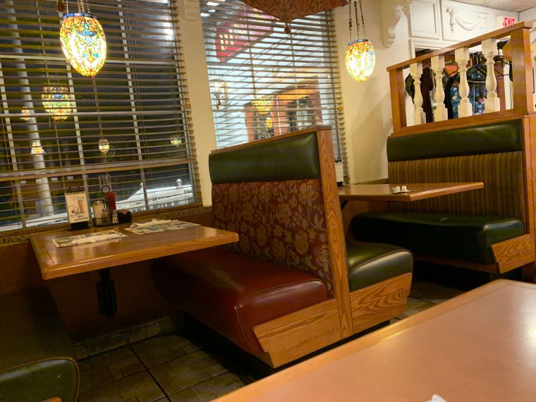 A row of booths at the Pied Piper Diner