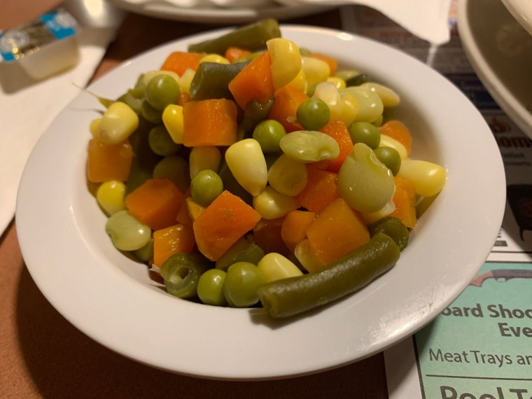Corn, carrots, green beans, Lima beans and peas at the Pied Piper Diner