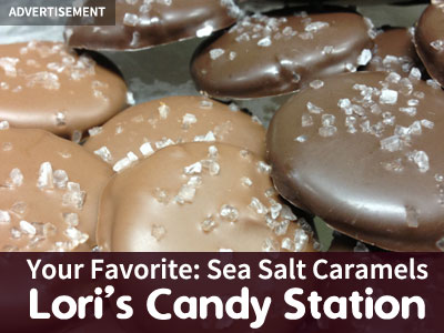 Advertisement for Lori's Candy Station featuring sea salt caramels