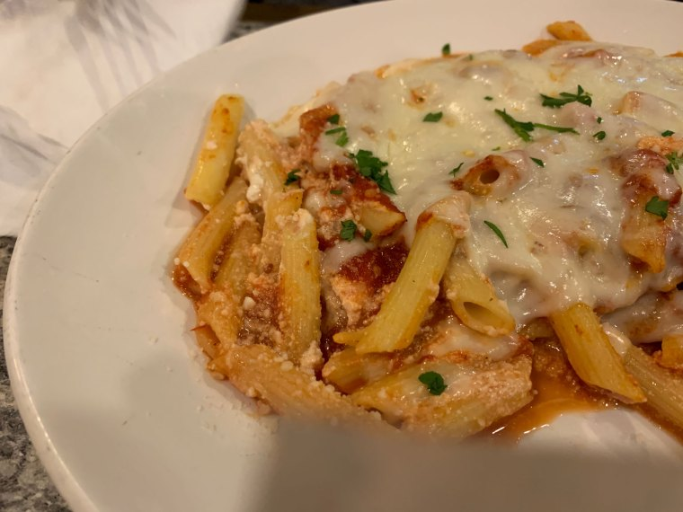 A plate of baked ziti topped with mozzarella cheese from Gino's Cafe in Shillington