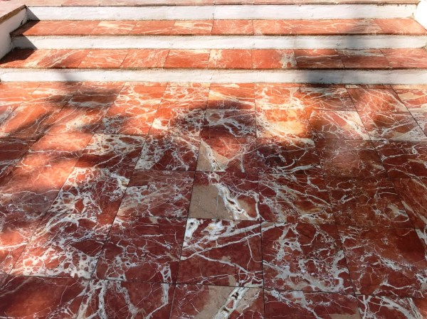 Marble Tiled Patio During Renovation Newbury