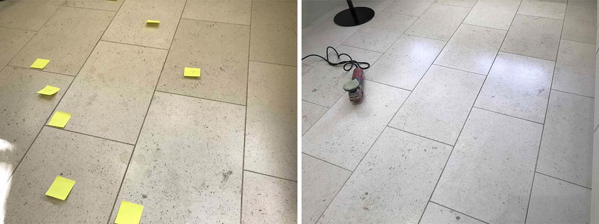 Acid Damaged Polished Limestone Floor before and after Restoration Wokingham