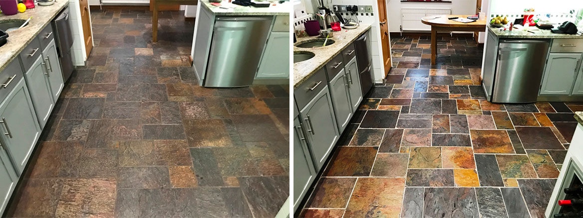 Multi Coloured Indian Slate Kitchen Floor before and after Renovation Bradfield
