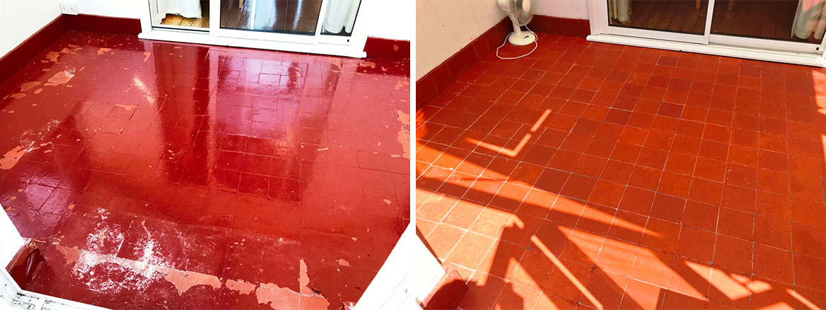 Reclaimed Painted Quarry Tile Basildon before and after Restoration