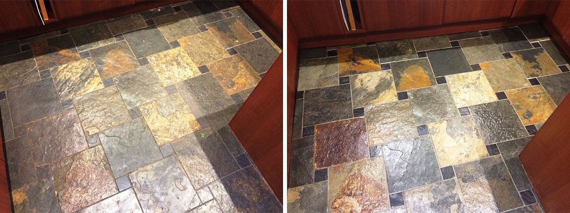 Slate Tiled Kitchen Floor before and after Sealing Spencers Wood