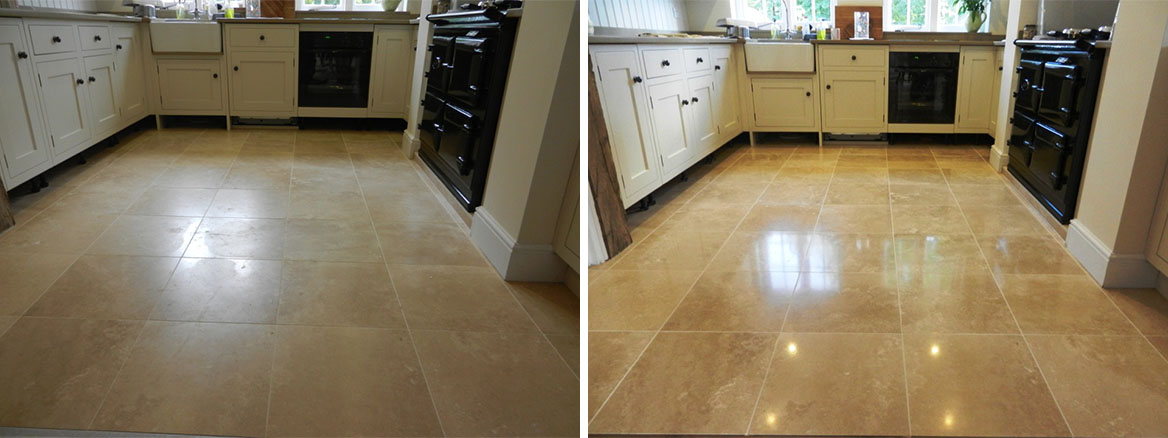 Travertine Floor before and after Repolishing