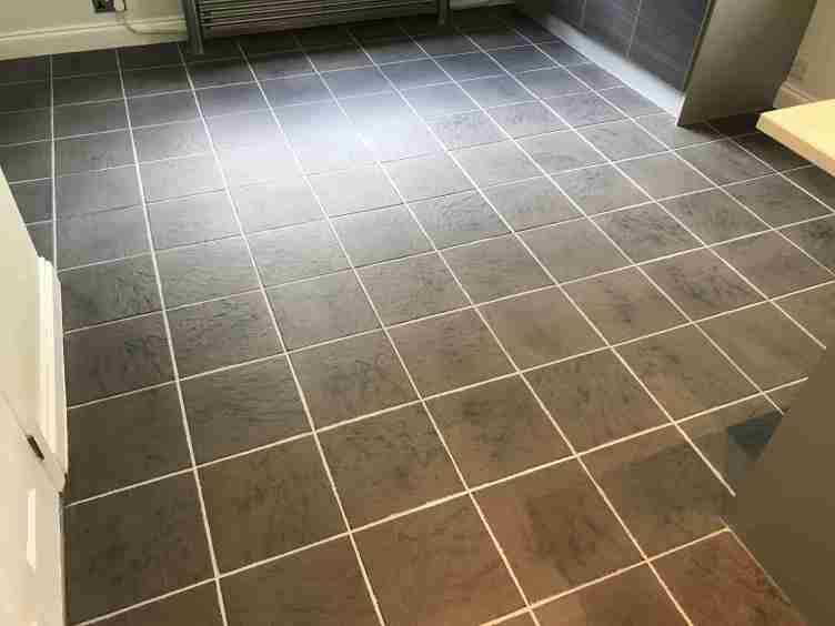 Ceramic Tiled Kitchen Floor Stained With Grout Haze After Cleaning Sandhurst