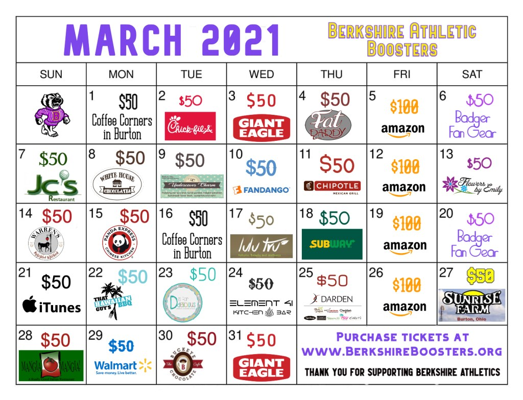 March Gift Card Fundraiser--Berkshire Boosters