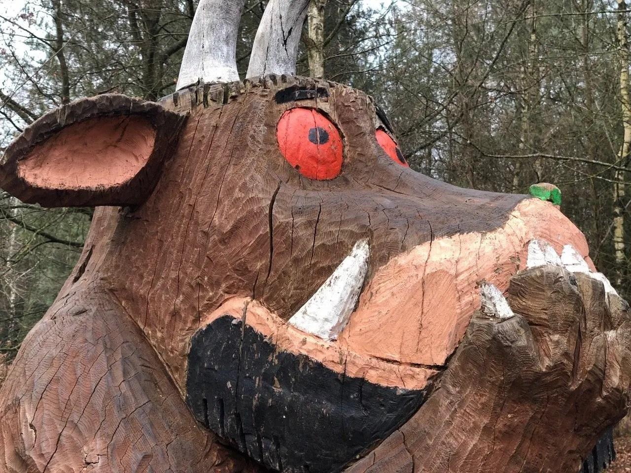 Not too far away from go. Alice Holt Forest Gruffalo Sculptures Berkshire Mummies