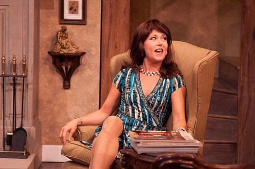 Elizabeth Aspenlieder dons another vivacious comedy role in Accomplice at Shakespeare & Company. Photos by Enrico Spada.