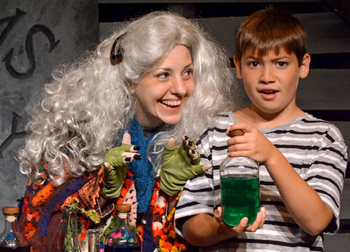 Amy Fiebke and Adam Salerno as Grandma and Pugsley..