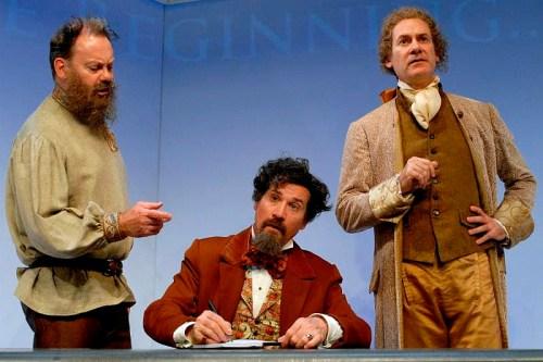 (l to r) Michael Sean McGuinness as Tolstoy, Rik Walter as Dickens, Ezra Barnes as Jefferson