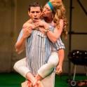 Ian Lassiter as Antipholus of Syracuse and Kelley Curran as Adriana.