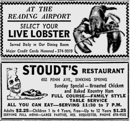 Select your live lobster ad Stoudts Restaurant
