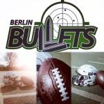 Collage aus Bulletslogo, Helm und Football