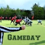 Gameday Schriftzug Senior Tackle mit Referee