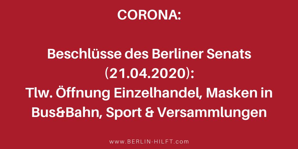 Berliner Senat Corona Verordnung