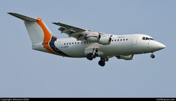 Jota Aviation Avro RJ85 G-JOTR (SXF 12.6.2019)