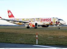 Swiss Bombardier CS300 HB-JCA, Swiss Romandy-Fichtre-Bemalung (TXL 26.12. 2017)