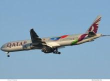 Qatar Airways Boeing 777-300ER A7-BAX, FIFA 2022 cs. (TXL 29.7. 2018)