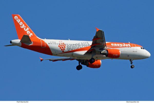 easyJet, Airbus A320-200 G-EZUH, Bordeaux-Sticker (SXF 2.7. 2018)
