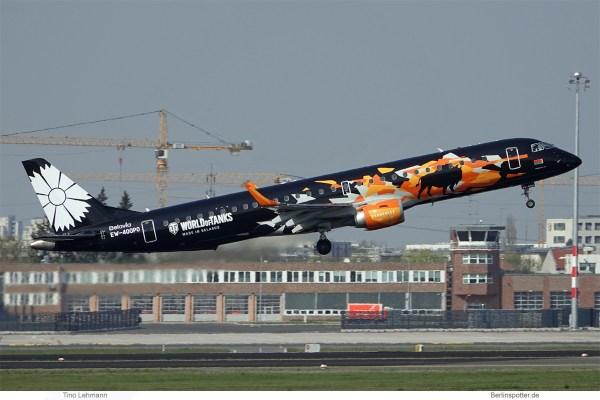 Belavia, Embraer 195 EW-400PO, World of Tanks cs. (SXF 7.4.2019)
