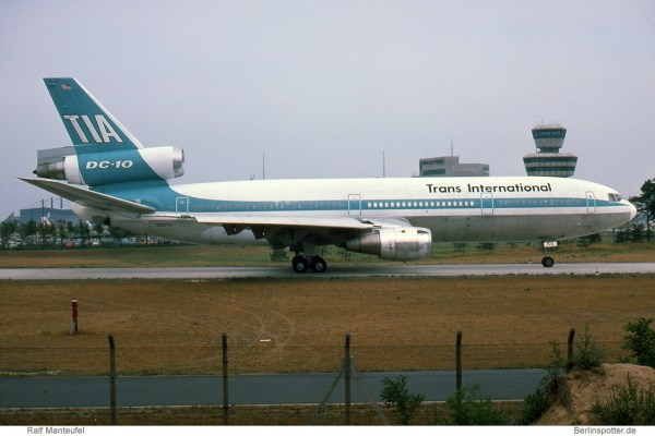 TIA Trans International Airlines, McDonnell-Douglas DC-10-30(CF) N102TV (TXL 24.7.1976)