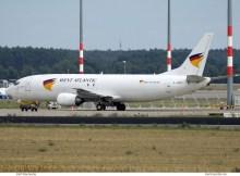 West Atlantic UK, Boeing 737-400(SF) G-JMCY (SXF 10.8.2019)