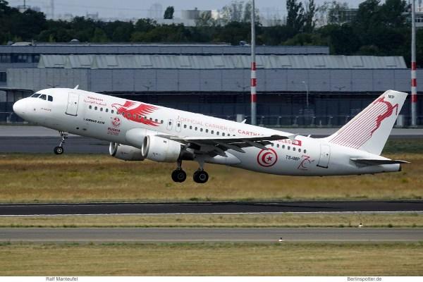 Tunisair, Airbus A320-200 TS-IMP, Carthage Eagles cs. (SXF 4.8.2019)