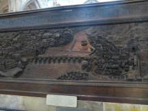 Hand carved model of Prague from before the building of the Charles Bridge.