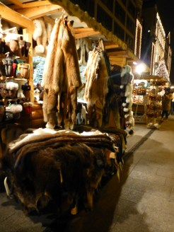 Furs on sale at the christmas market.