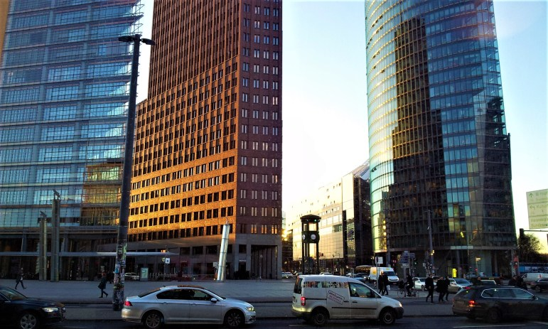 The skyscrapers at Potsdamer Platz viewed from the Café Caras Gourmet