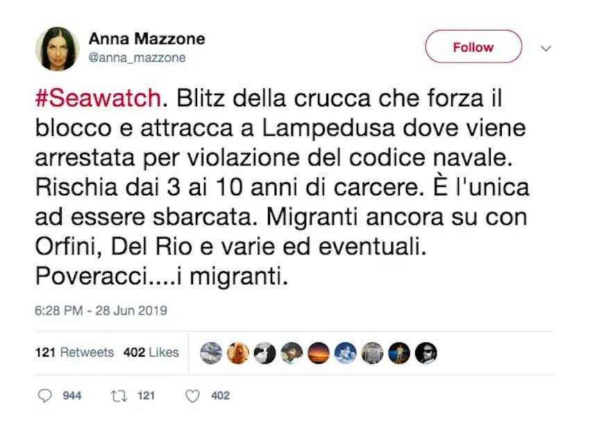 screenhot dal profilo Twitter della gioranlista Rai Anna Mazzone, https://twitter.com/anna_mazzone/status/1144779757898407936