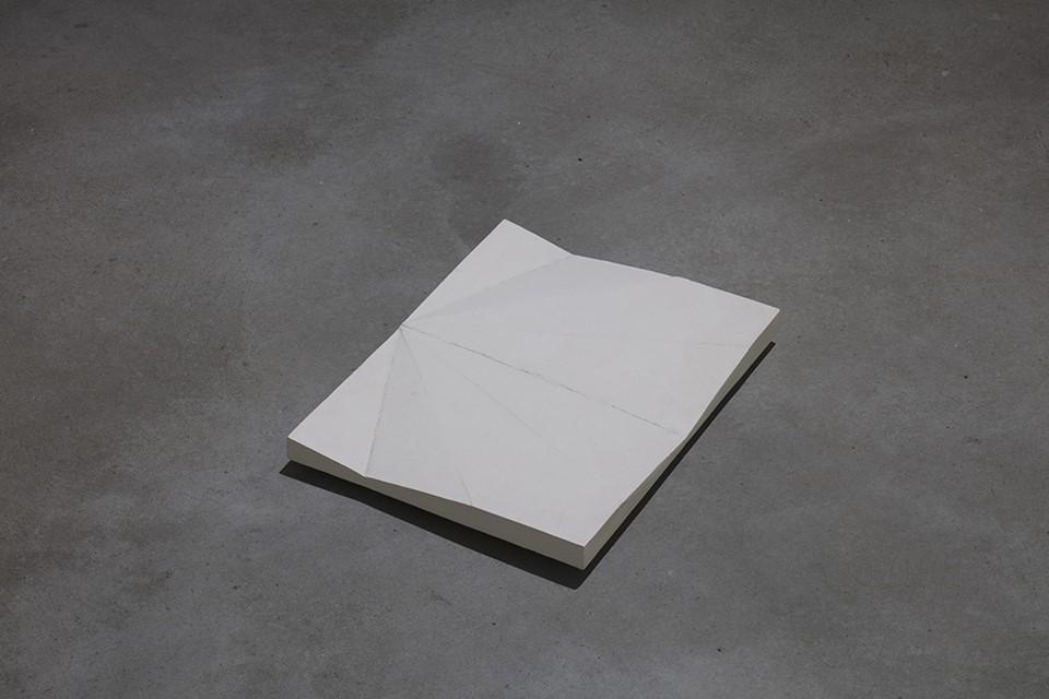 Jet lag plaster cast of the unfolded paper plane; 2013