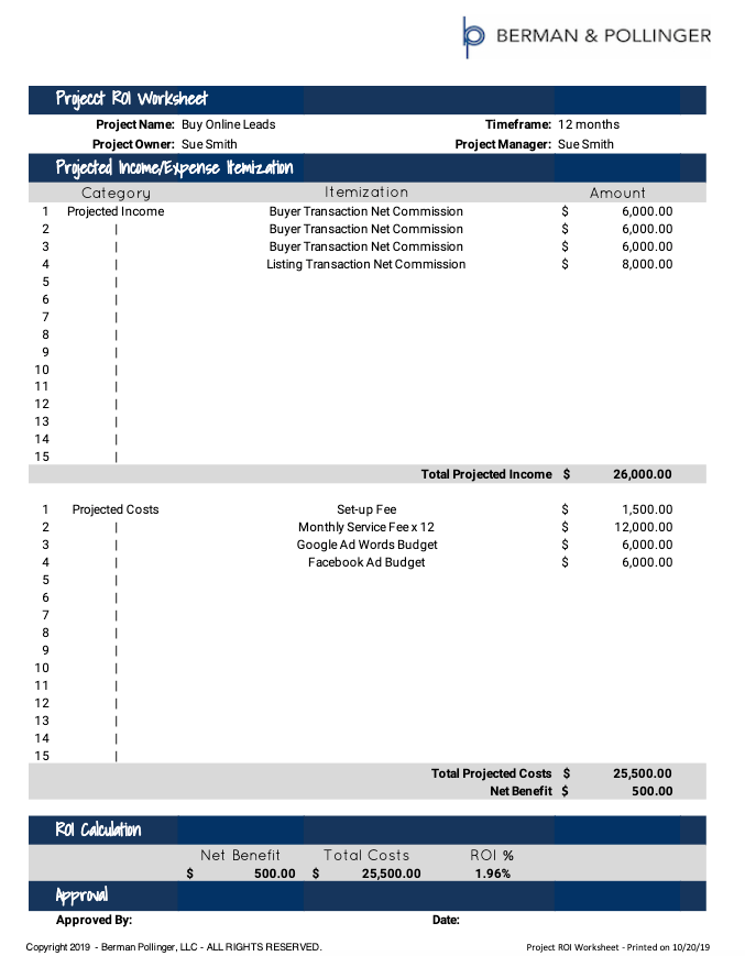 Project ROI Worksheet