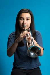 Bell Thompson on trumpet, a sophomore at Garfield High School in Seattle. Thompson is part of an all-girls jazz ensemble group closing in on a chance to perform in the prestigious Essentially Ellington competition. KUOW Photo/Daniel Berman