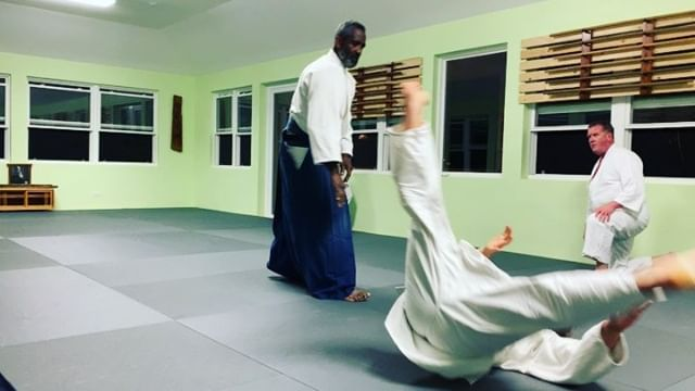 """Sensei Collins Smith, founder of Bermuda Aikikai teaches """"irimi nage"""" an entering throw also known as the """"20 year technique"""" as it can take that long for some of us to understand the meaning and the many variants of it. One of our favorites and important basics."""