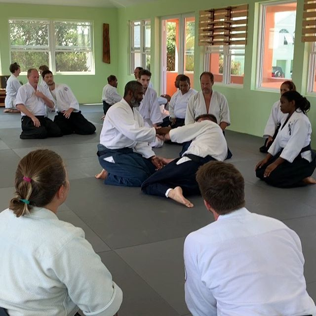 Sensei Smith demonstrates the subtle movements of kokyu
