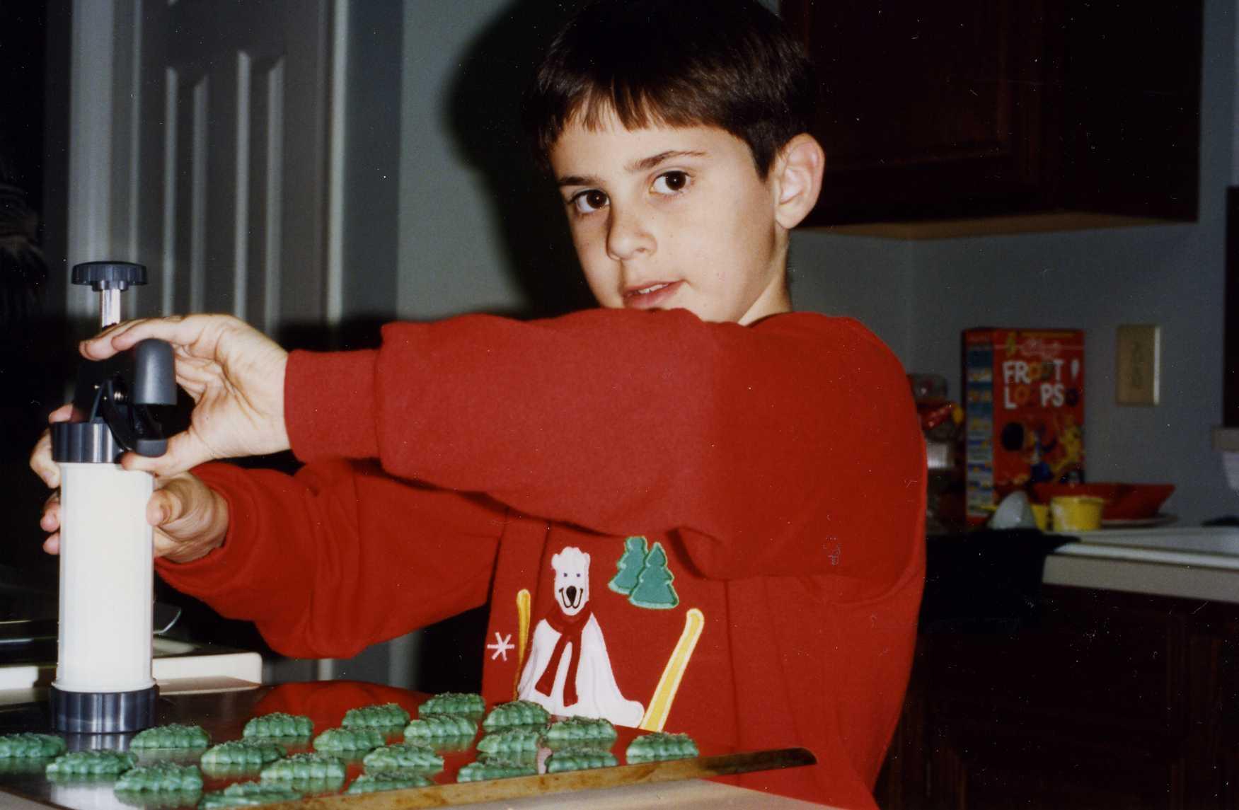Vance making spritz cookies