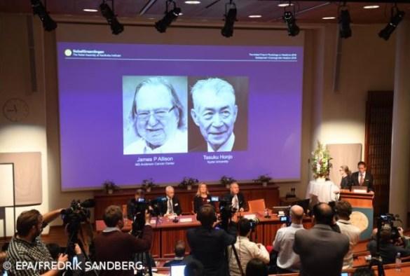 Imunologistas James P. Allison e Tasuku Honjo