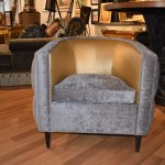 Transitional Style Tufted Barrel Chair