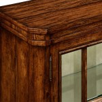 Plank Walnut Low Bookcase With Strap Handles Small