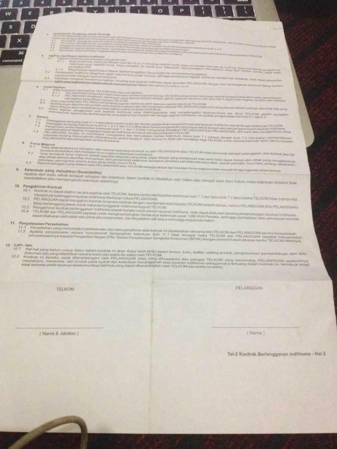 Surat kontrak halaman belakang