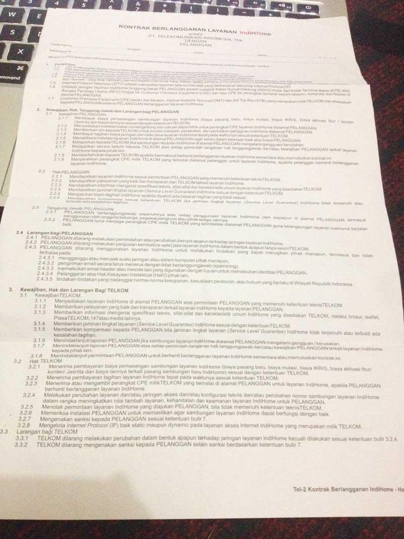 Surat kontrak halaman depan
